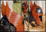 Engraved Wings Leather Helmet