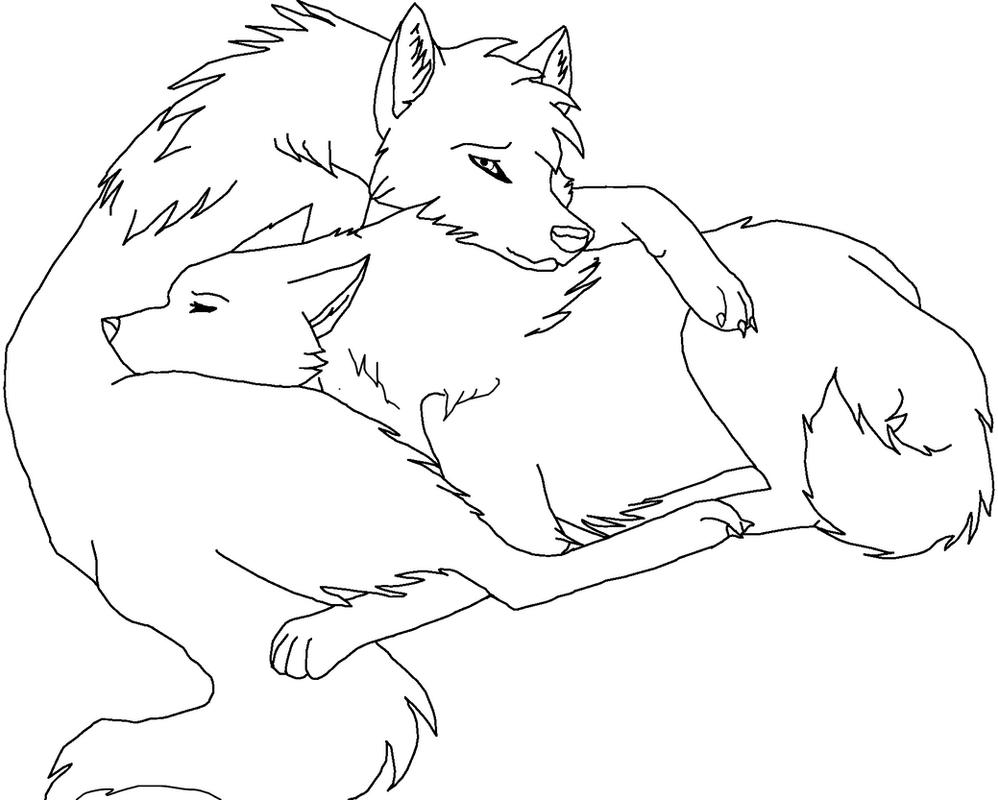 Wolf cuddle lineart (Paint Friendly) by RikkuWolfsBane