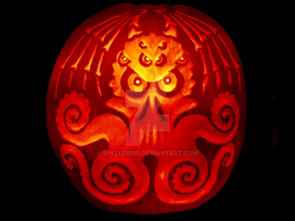 Cthulhu pumpkin by Spelleroid