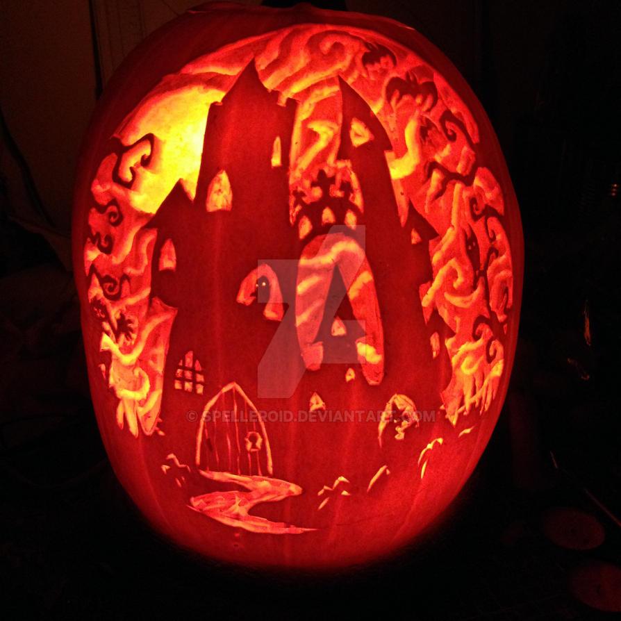 Haunted house pumpkin by Spelleroid