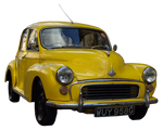 cut out yellow vintage car