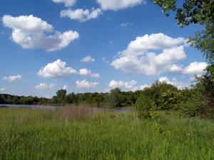 lake field sky