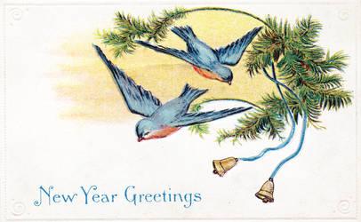 New Years Blue Birds