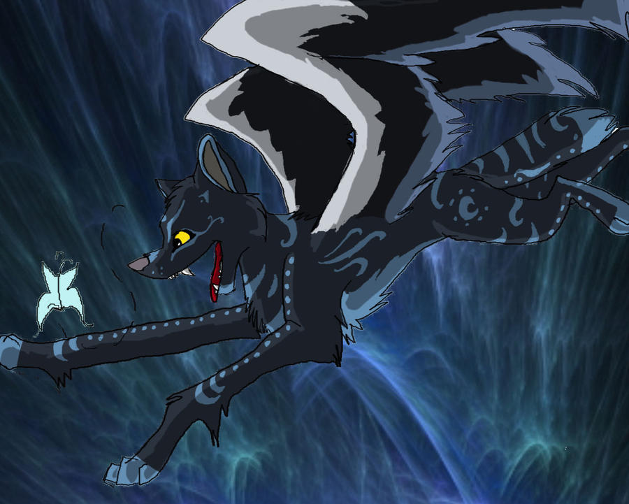 Evil black winged wolf - photo#22