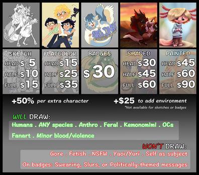 Commission Info and Prices [Open] by NattiKay