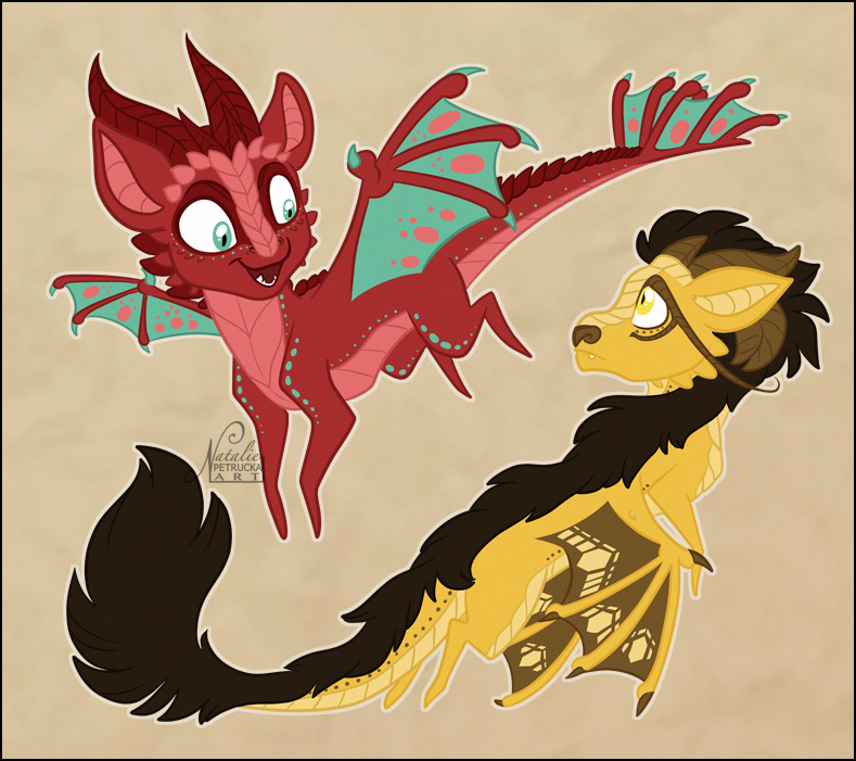 Chibi Dragons by NattiKay