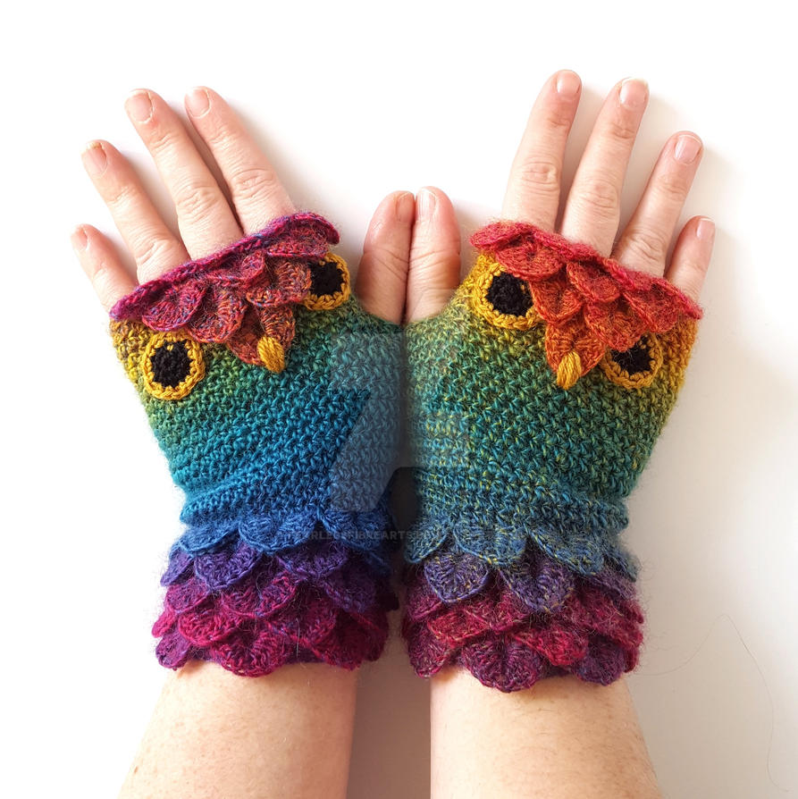 Prism Owl Gloves by FearlessFibreArts