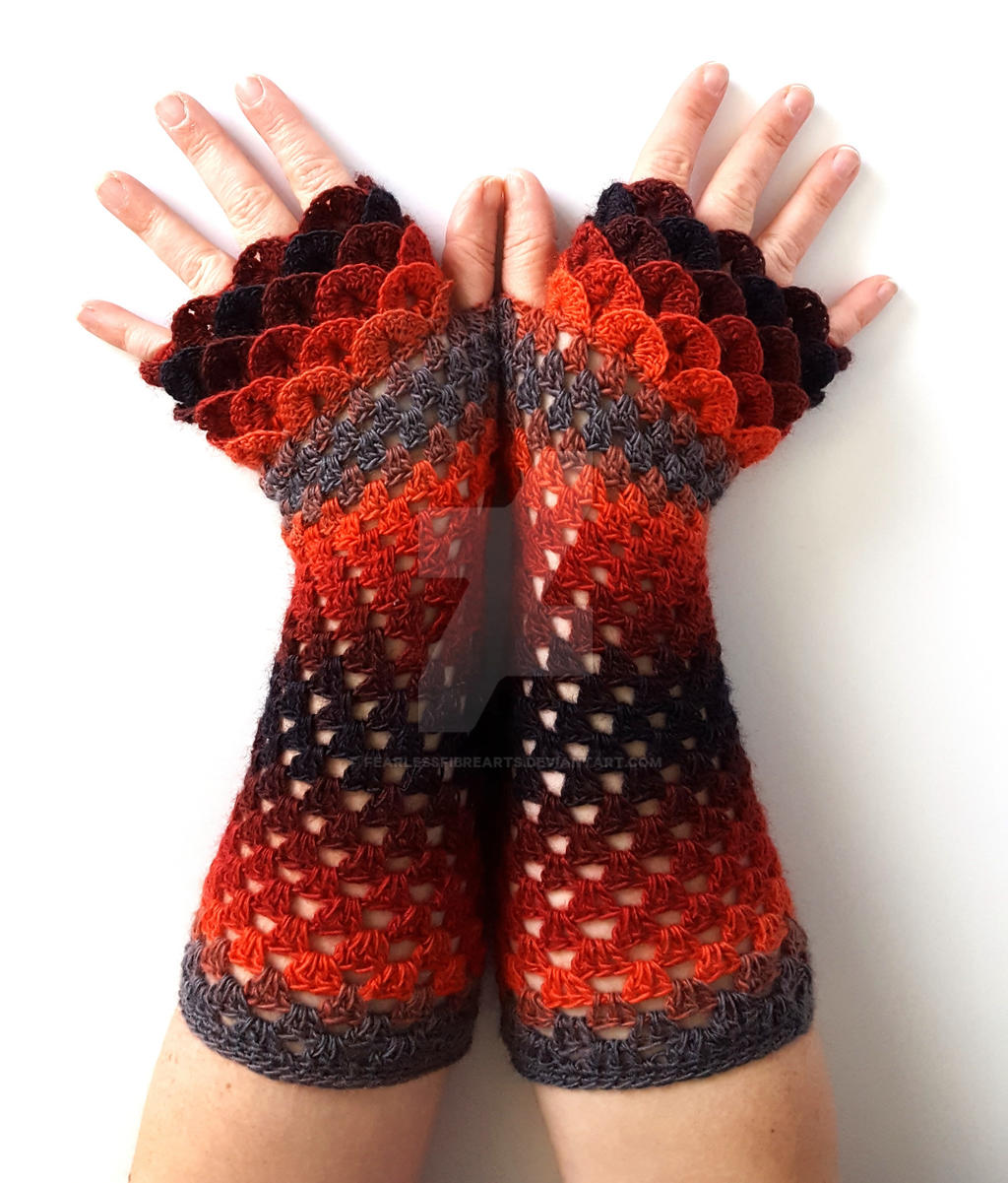 Burning Coals Dragon Gloves Commission by FearlessFibreArts