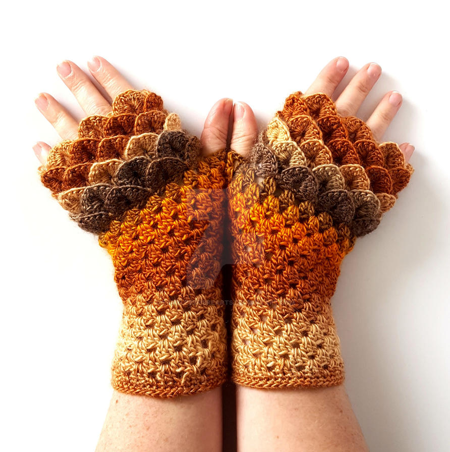 Autumn Leaves Dragon Gloves by FearlessFibreArts