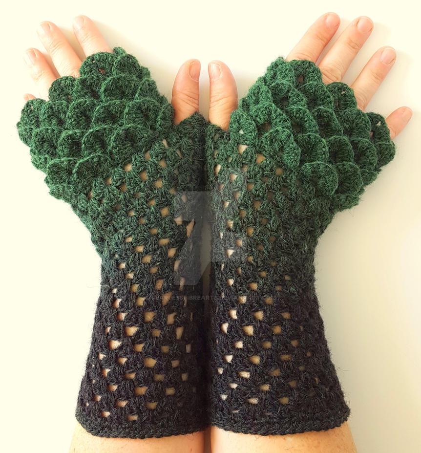 Ooak Lichen Dragon Gloves Custom By Fearlessfibrearts On Deviantart