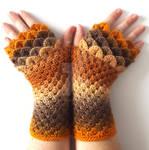 Golden Brown Dragon gloves