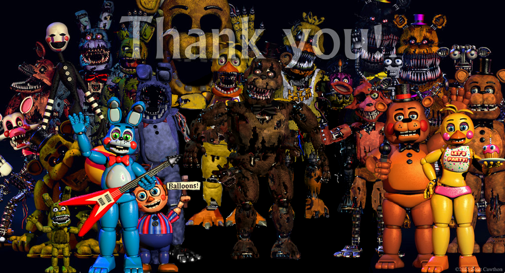 The thank you pic w no fnaf 1 animatronics by will220 on deviantart