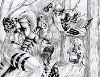 Sabretooth vs wolverine,Night crawler and Beast by ashkel