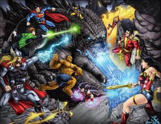 Godzilla vs heroes  colored by ashkel