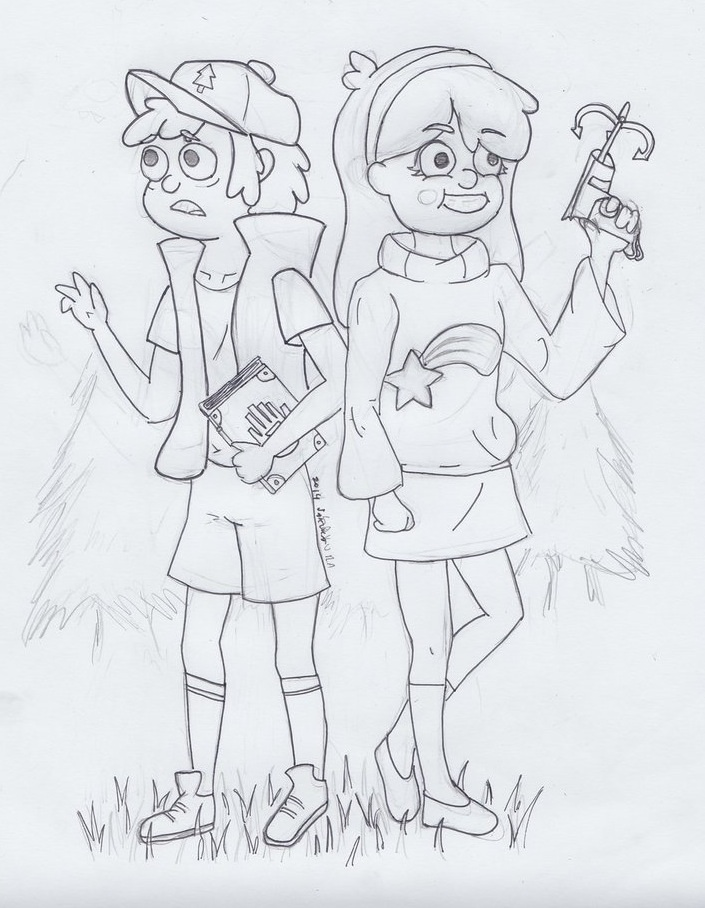 Mystery Twins: Dipper and Mabel Pines WIP by SakuraDrawingPencil