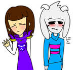 Clothing swap!-Asriel+Frisk-