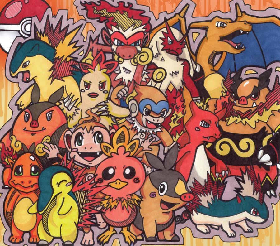 Fire Starters+Their Evolutions by KuroStarSunny