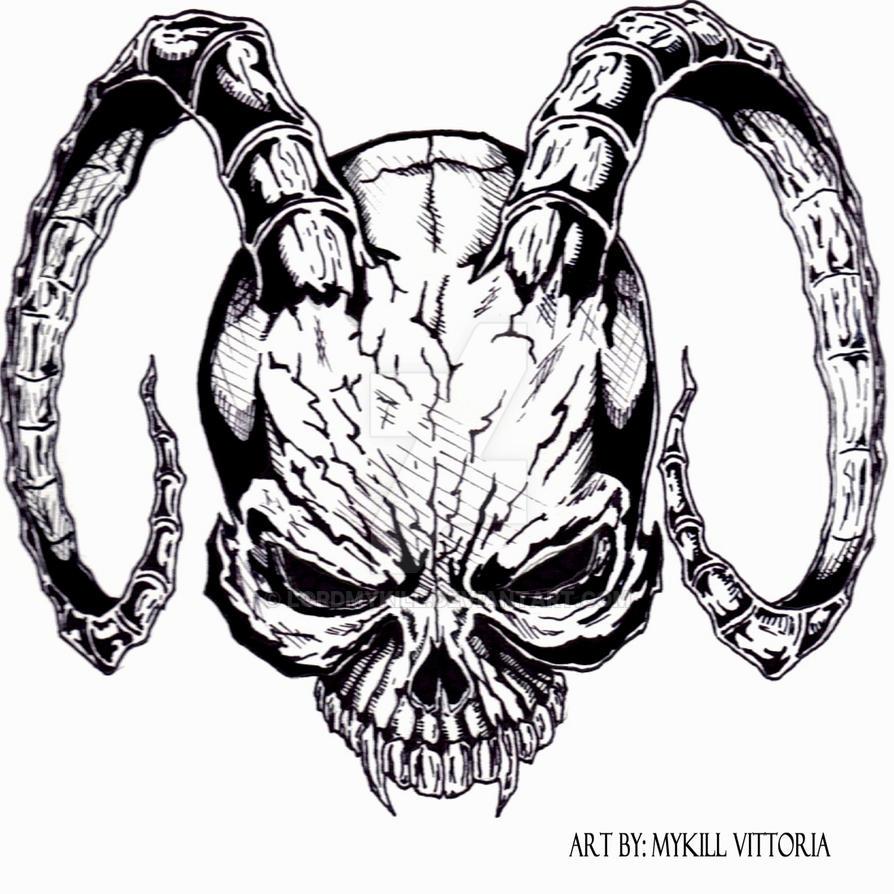 demon skull tattoo design by lordmykill on deviantart. Black Bedroom Furniture Sets. Home Design Ideas