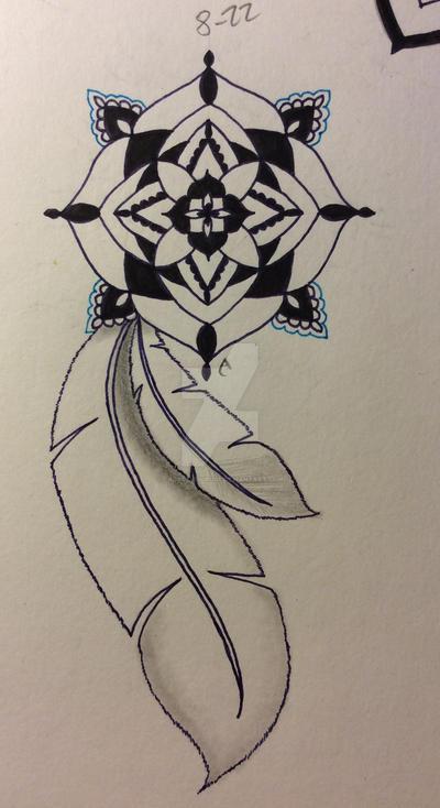 Mandala and feathers 3