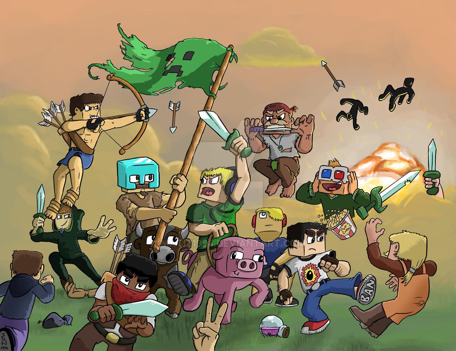 Skydoesminecraft Fan Art Tumblr Battle In Minecraft By Matiz Dlxn