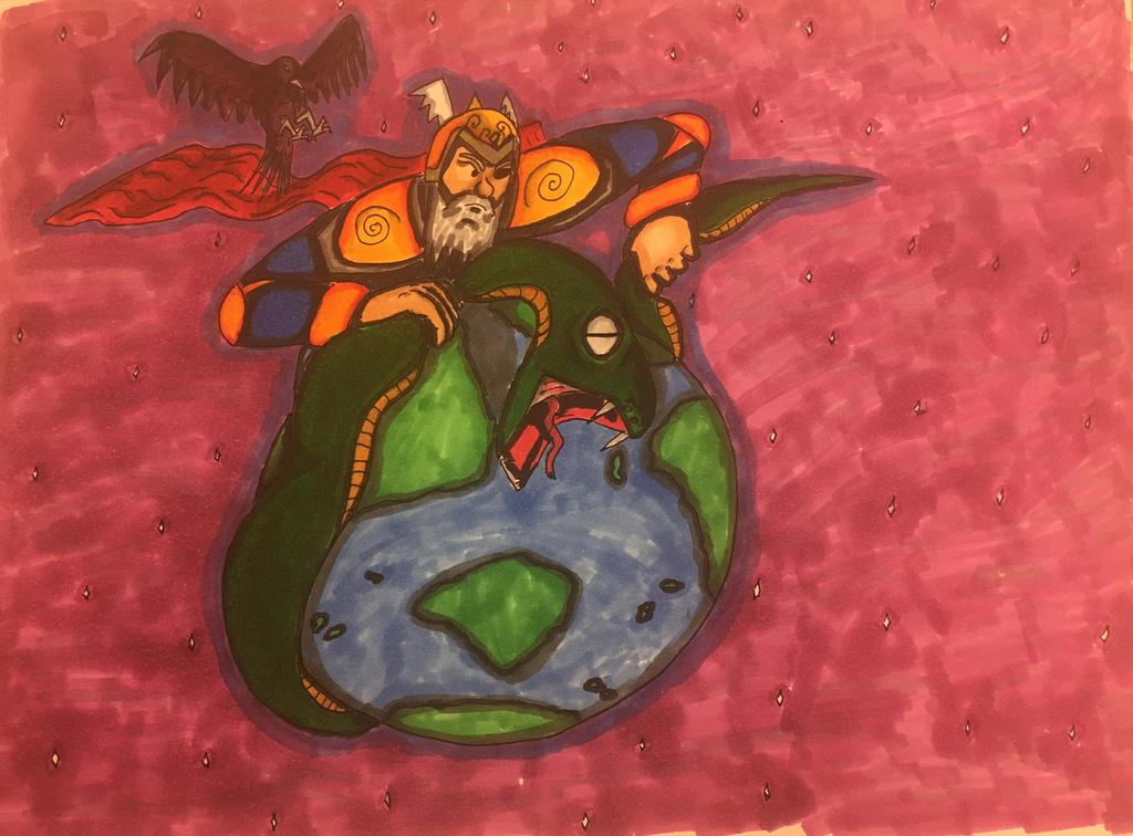 Odin and Ragnarok (better version) by dorontuvia123