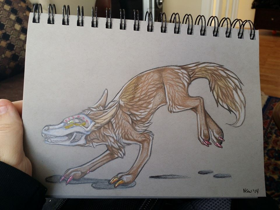 Anatomy commission colored pencil on gray paper by nightspiritwing