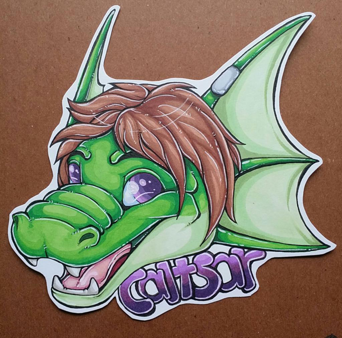 Caltsar headshot badge commission by nightspiritwing