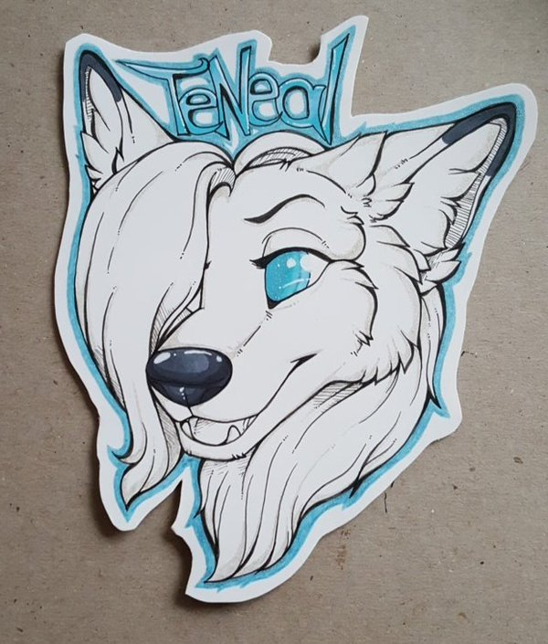 TeNeal pen and ink glitter badge by nightspiritwing