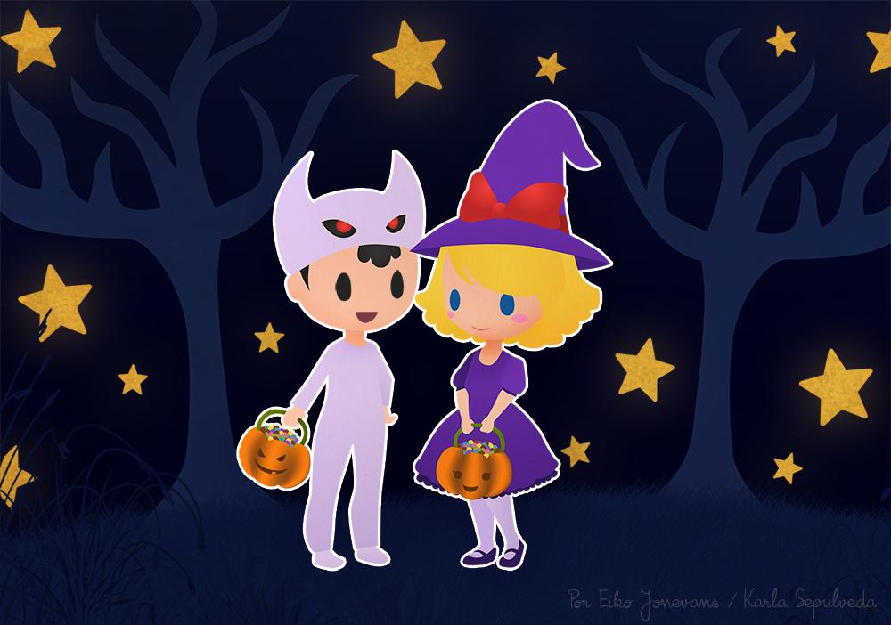 Ness and Paula Halloween - Earthbound by eikojonevans