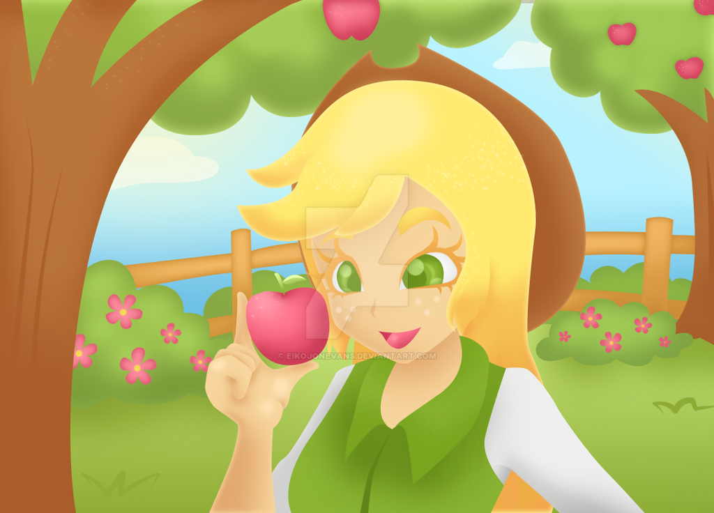 Applejack and apple by eikojonevans