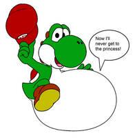 Yoshi eats Mario by FootballLover