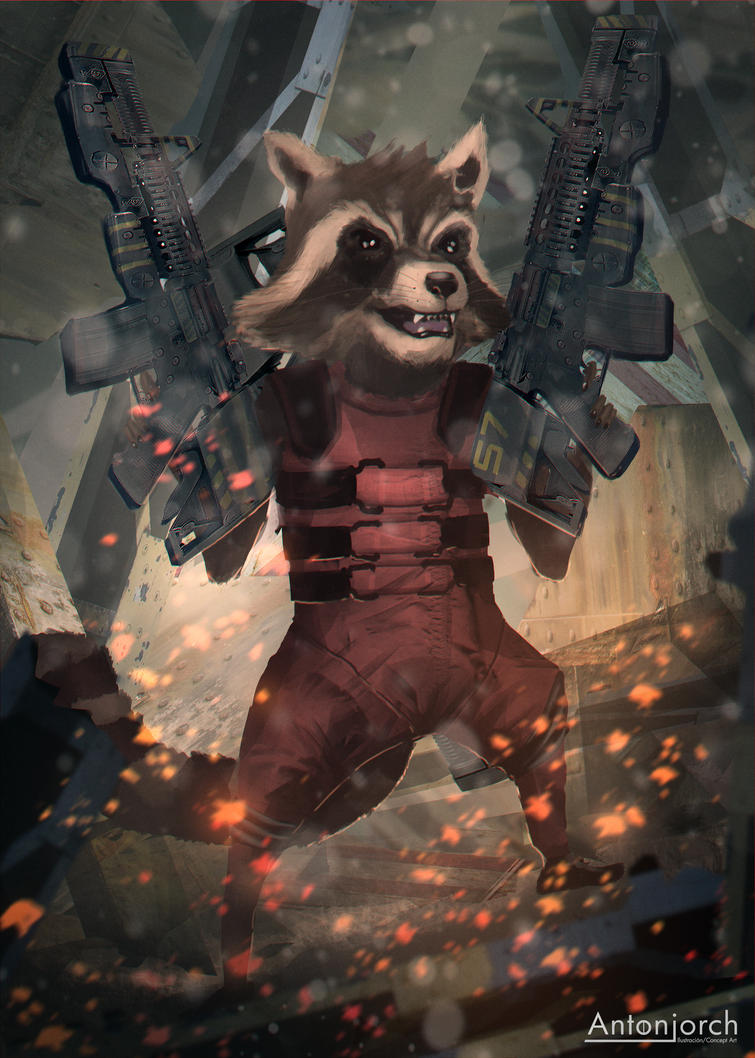 Rocket Raccoon by antonjorch