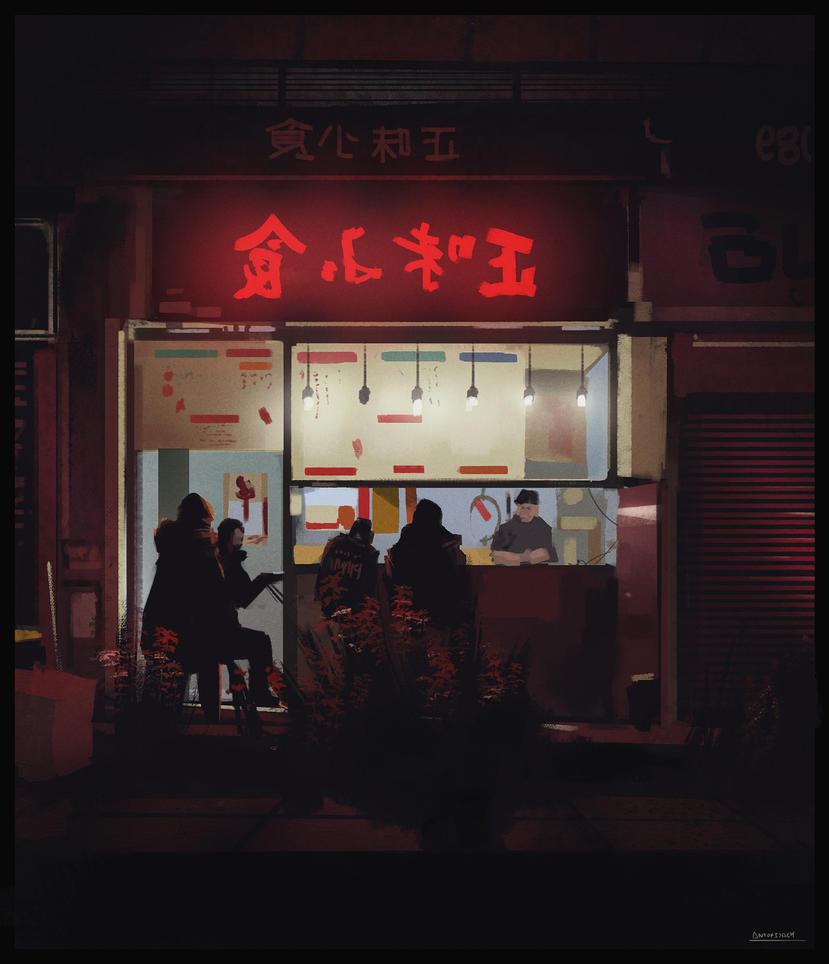 Japan Street lights practice by antonjorch
