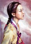 Illustratively in hanbok
