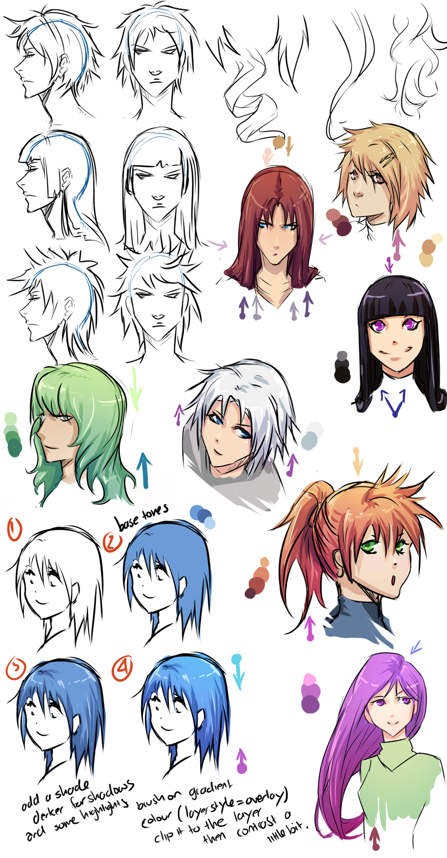 anime hair 5: Cell Shading Anime Hair By Moni158 On DeviantArt