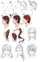 Drawing Anime Hair by moni158