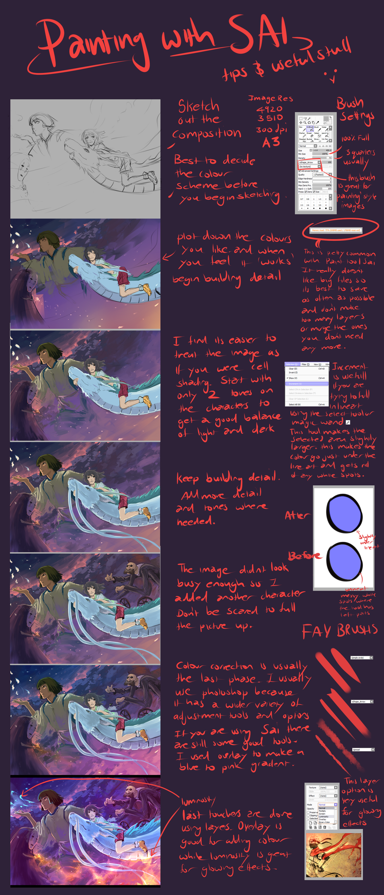 Painting and Paint Tool Sai tips by moni158