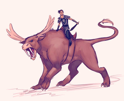 Sokka and his Moose lion.