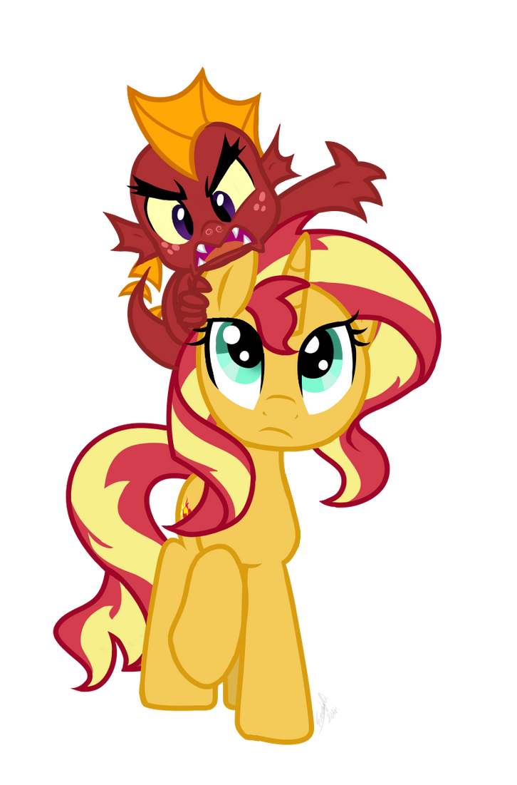 Sunset Shimmer and Garble