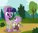 Young Twilight and Little Spike