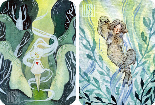 ('17)16 Will-o'-the-wisp and ('17)18 Selkie - aceo
