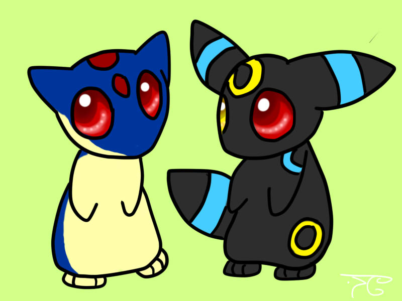 Chibi Umbreon and Quilava by Bowtiefoxin