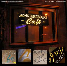 Monsterhunters Cafe sign by afke11