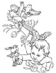 Cherub with birds