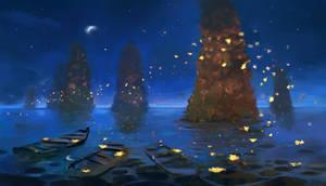 Nighttime  Pillars