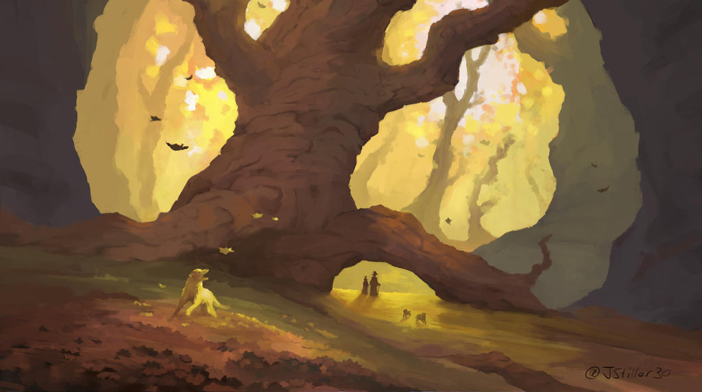 some doggos in Autumn (stream painting)