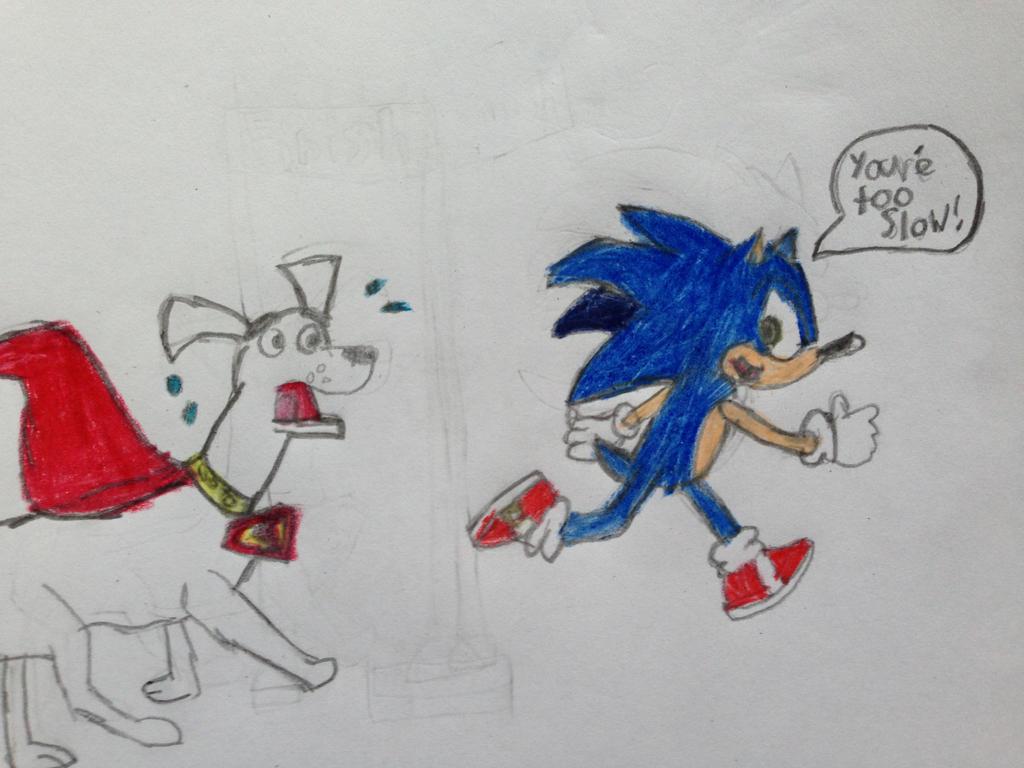 Sonic Racing Against Krypto the Superdog by nintendolover2010