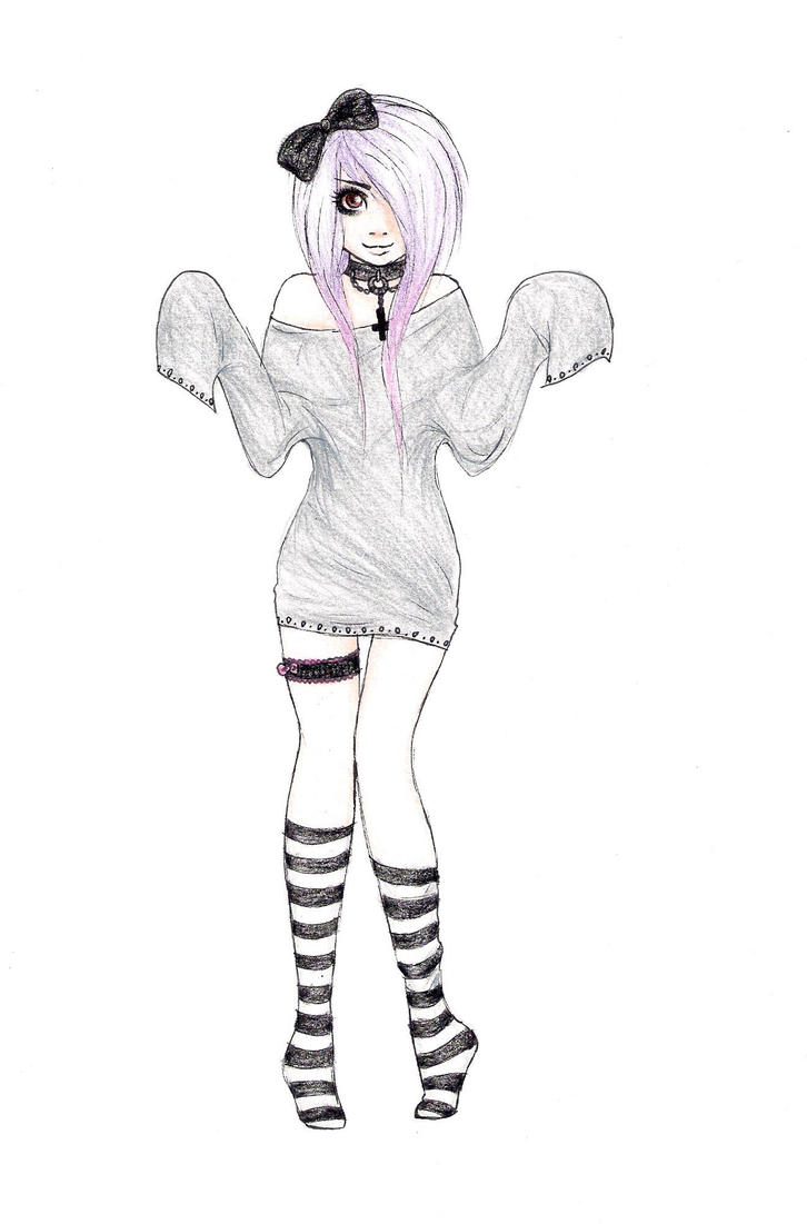 It's just an image of Effortless Pastel Goth Girl Drawing