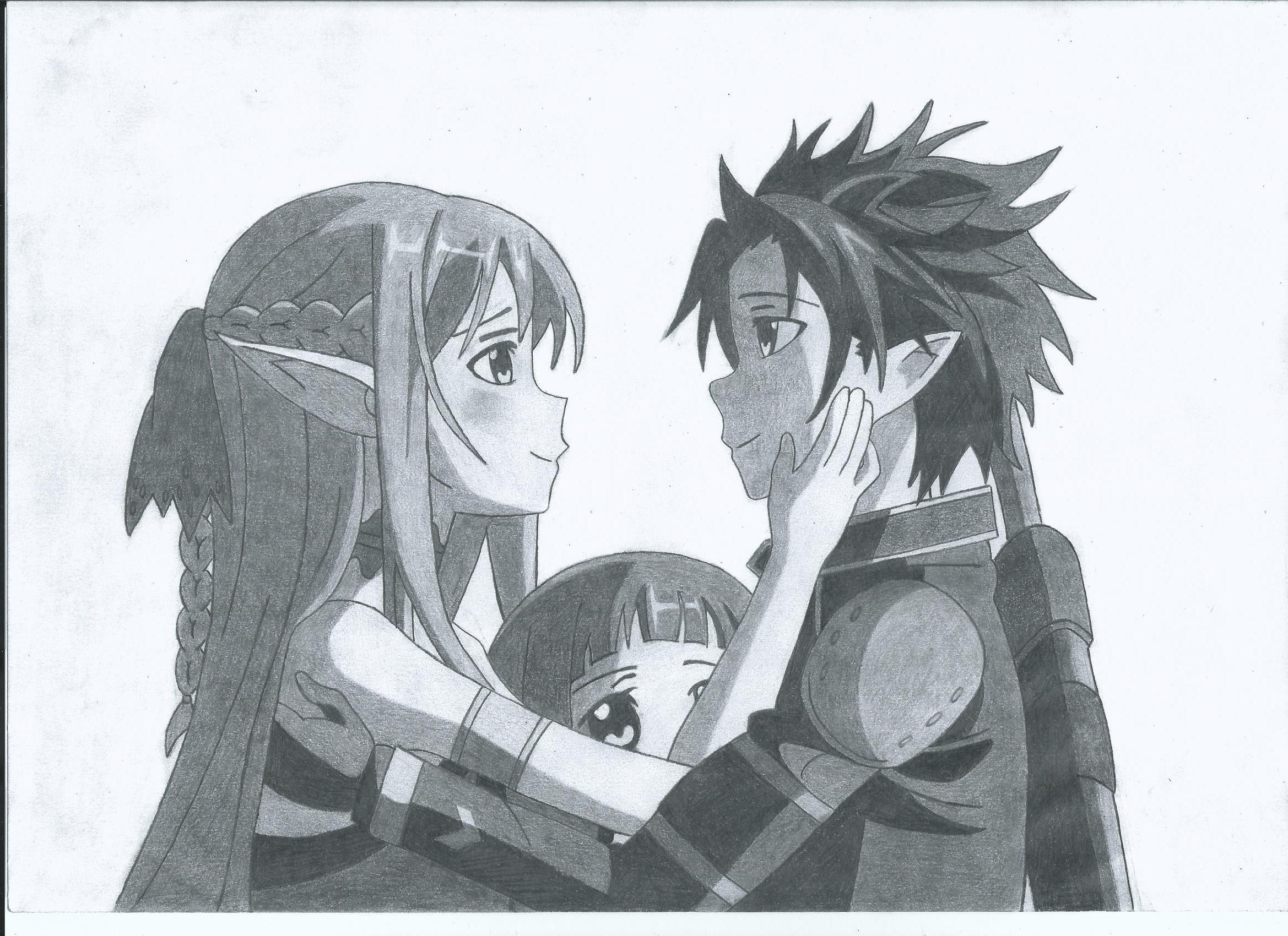 Kirito asuna and yui by nogah on deviantart