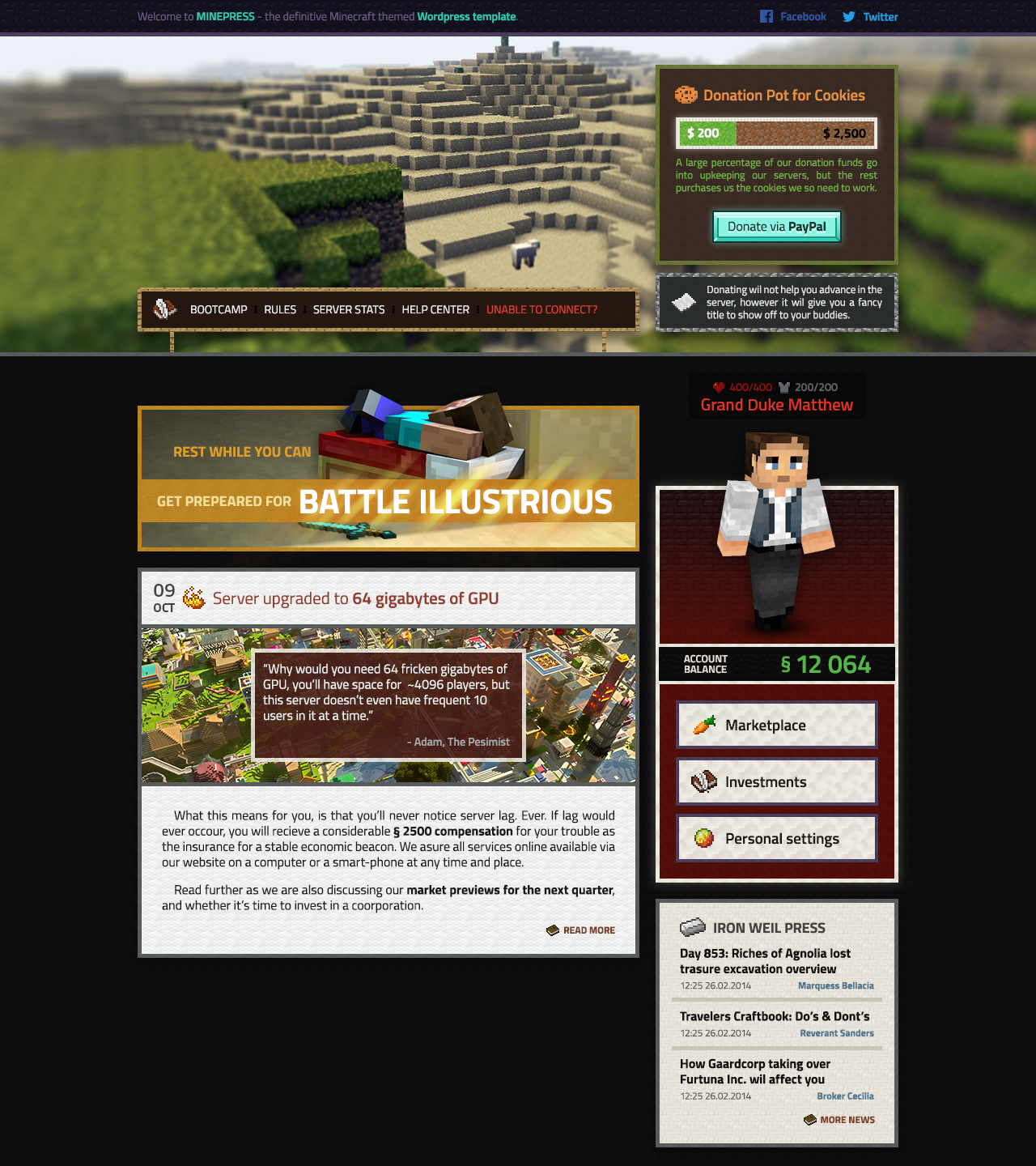 MINEPRESS - Minecraft Wordpress template WIP by asailant2k on ...